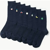 M&S Collection 7 Pack Fruit Embroidery Cotton Rich Socks