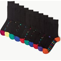 M&s Collection 10 Pack Cotton Cool & Fresh Spot Print Socks