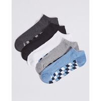 M&S Collection 5 Pack Cotton Rich Trainer Liner Socks