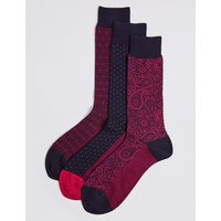 M&S Collection Luxury 3 Pack Cotton Rich Assorted Socks