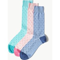 M&S Collection Luxury 3 Pack Luxury Polka Dot Cotton Rich Socks