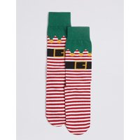 M&S Collection Cotton Rich Elf Christmas Socks