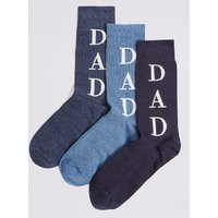 M&S Collection 3 Pack Dad Design Cotton Rich Socks