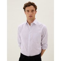 Image of Regular Fit Pure Cotton Checked Shirt purple
