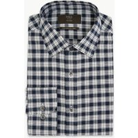 MandS Collection Cotton Twill Checked Tailored Fit Shirt