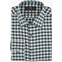 MandS Collection Cotton Twill Gingham Tailored Fit Shirt