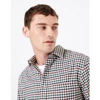 MandS Collection Cotton Twill Checked Shirt