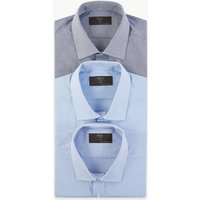 MandS Collection 3 Pack Cotton Blend Slim Fit Shirt