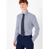M&S Collection Luxury Shorter Length Slim Fit Chevron Print Shirt