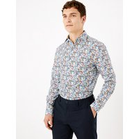 MandS Collection Luxury Tailored Fit Pure Cotton Printed Shirt