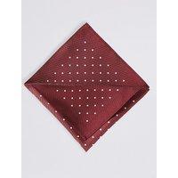 M&S Collection Pure Silk Spot Print Pocket Square