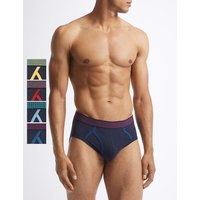 M&S Collection 4 Pack Cotton Rich Striped Briefs with StayNEW