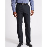 M&S Collection Navy Textured Tailored Fit Trousers
