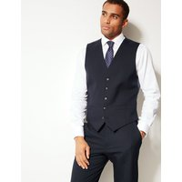 M&S Collection Navy Textured Regular Fit Waistcoat