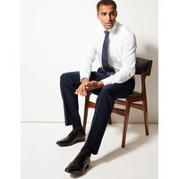 M&S Collection Navy Textured Regular Fit Trousers