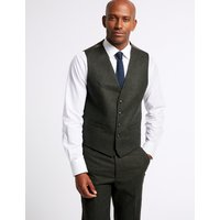 MandS Collection Dark Green Tailored Fit Tailored Waistcoat