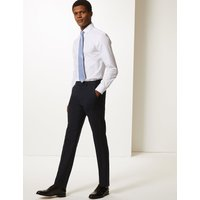 MandS Collection Navy Slim Fit Wool Blend Trousers