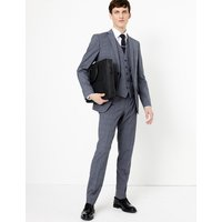 MandS Collection Blue Checked Slim Fit Jacket