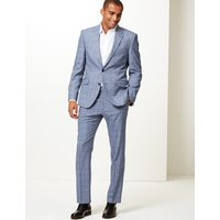 MandS Collection Blue Checked Tailored Fit Jacket