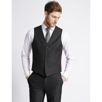 M&S Collection Charcoal Textured Slim Fit Waistcoat