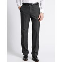 M&S Collection Charcoal Regular Fit Trousers