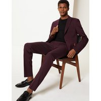 MandS Collection Burgundy Slim Fit Jacket with Stretch