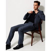 M&S Collection Big & Tall Blue Textured Slim Fit Trousers