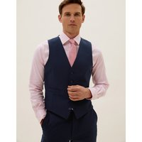 MandS Collection The Ultimate Navy Slim Fit Waistcoat with Stretch