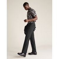 MandS Collection Big and Tall Black Regular Fit Trousers