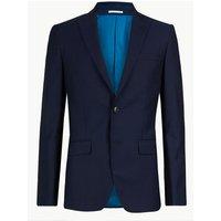 Savile Row Inspired Navy Striped Slim Fit Wool Jacket