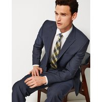 Savile Row Inspired Navy Striped Tailored Fit Wool Jacket