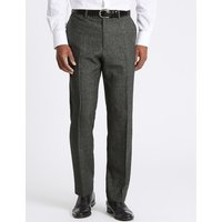 Savile Row Inspired Charcoal Textured Regular Fit Wool Trousers