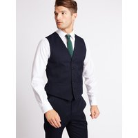 M&S Collection Luxury Navy Striped Regular Fit Wool Waistcoat
