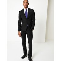 M&S Collection Luxury Black Slim Fit Wool Trousers