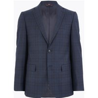 MandS Collection Luxury Blue Tailored Fit Wool Rich Checked Suit