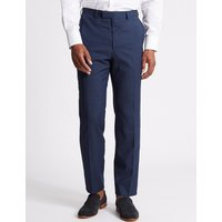 M&S Collection Luxury Indigo Textured Regular Fit Wool Trousers