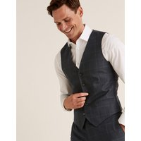 MandS Collection Luxury Navy Regular Fit Wool Checked Waistcoat