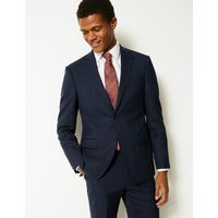 M&S Collection Luxury Indigo Checked Tailored Fit Wool Jacket