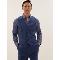MandS Collection Luxury Blue Tailored Fit Wool Waistcoat
