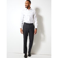 M&S Collection Luxury Charcoal Checked Regular Fit Wool Trousers