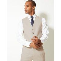 M&S Collection Textured Regular Fit Linen Waistcoat