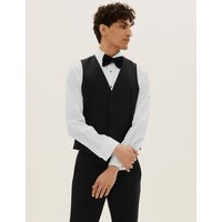 MandS Collection Black Slim Fit Textured Waistcoat