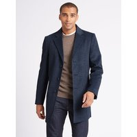M&S Collection Wool Blend Revere Overcoat
