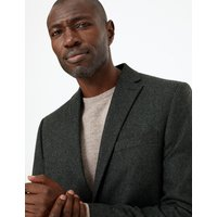 M&S Collection Green Tailored Fit Textured Jacket