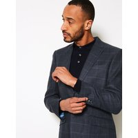 MandS Collection Luxury Navy Pure Linen Checked Regular Fit Jacket