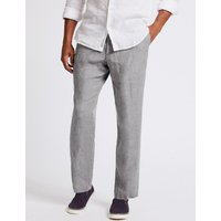 M&S Collection Straight Fit Pure Linen Trousers