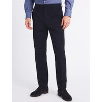 M&S Collection Slim Fit Cotton Blend Flat Front Trousers