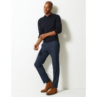 M&S Collection Skinny Fit Checked Flat Front Trousers