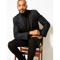 M&S Collection Charcoal Herringbone Tailored Fit Jacket