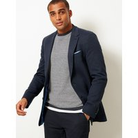 MandS Collection Big and Tall Indigo Cotton Blend Slim Jacket